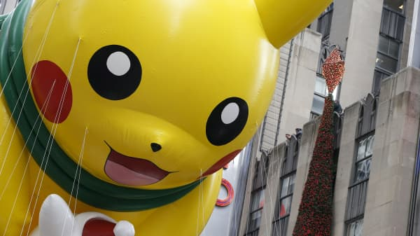 "The Pokemon ""Pikachu"" float makes its way down 6th avenue during the 89th Macy's Thanksgiving Day Parade in the Manhattan borough of New York, November 26, 2015."