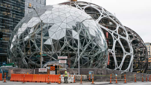 Amazon Spheres under construction in Seattle, June 24, 2016.