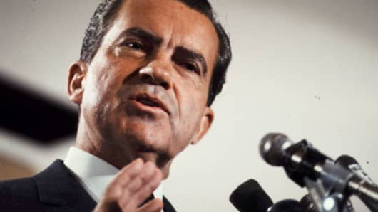 Richard Nixon speaking during his presidential campaign, 1968.