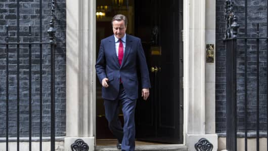 David Cameron leaves Downing Street before making a statement on July 11, 2016 in London.