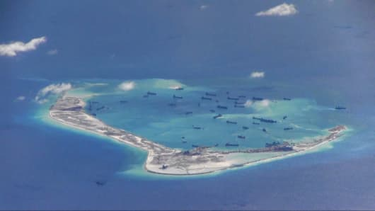 An island outpost, one of several, being built by China in the South China Sea.