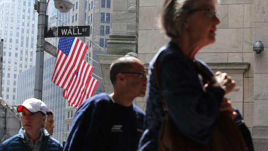End of day outside Wall Street, NYSE