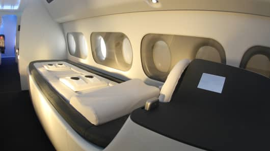 The massage table on the Sukhoi SportJet where athletes can receive treatment.