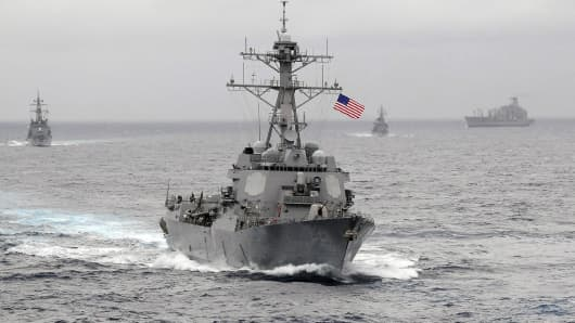 The US Navy guided-missile destroyer USS Lassen, which sailed within 12 nautical miles of Chinese artificial islands in the South China Sea, on October 27, 2015.