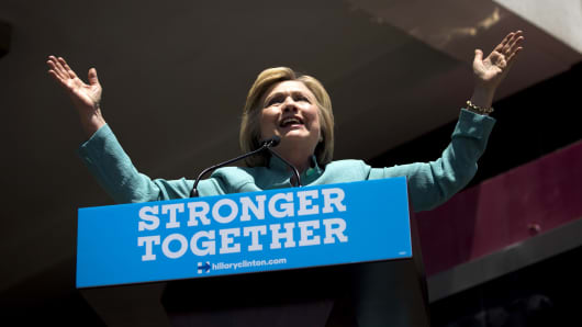 Hillary Clinton, presumptive 2016 Democratic presidential nominee, speaks during a campaign event in Atlantic City, New Jersey.