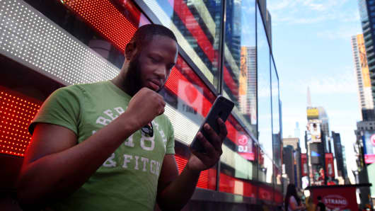A man playing Pokemon Go in New York, July 11, 2016.