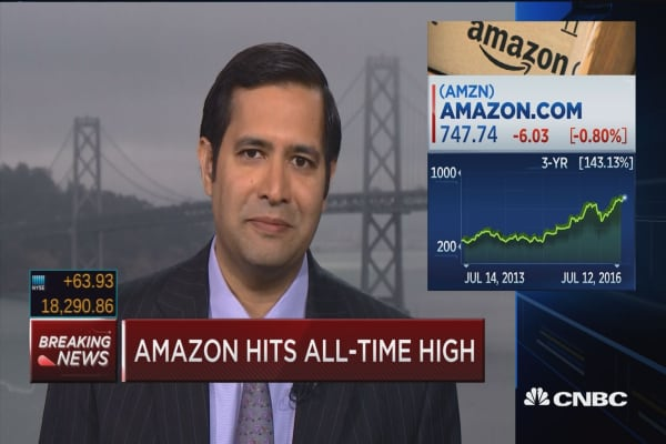 Amazon hits all-time highs