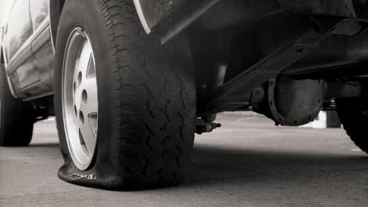 Flat Tire, flat market concept