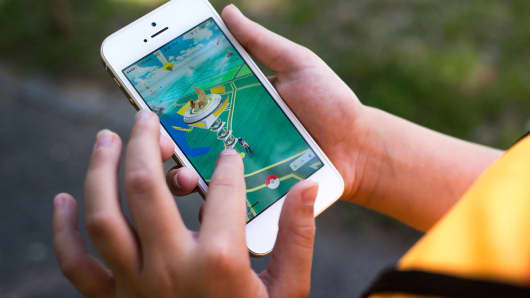 Pokemon Go on a mobile phone