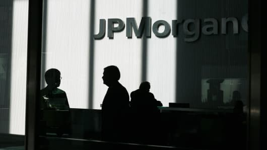 People inside the offices of JP Morgan Chase in New York City.