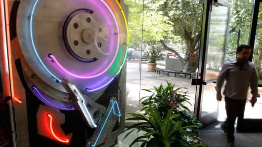 A neon hard drive sculpture is displayed in the lobby of Seagate headquarters in Scotts Valley, California.