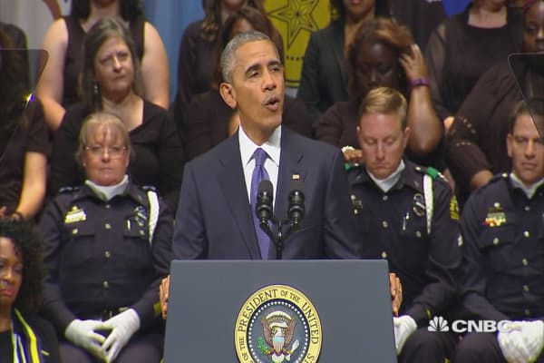 Obama speaks at Dallas police memorial