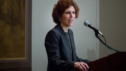 Loretta Mester, president and chief executive officer of the Federal Reserve Bank of Cleveland, speaks during a New York Association For Business Economics luncheon in New York, U.S., on Friday, April 1, 2016.