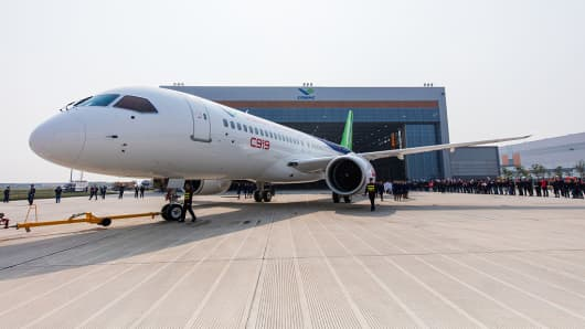 The Comac C919 aircraft.