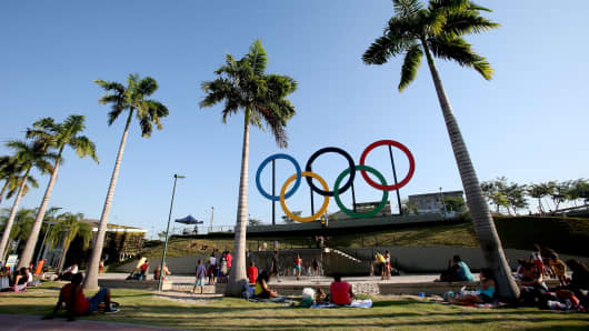The Olympic Rings in Madureira Park in Rio de Janeiro, Brazil.