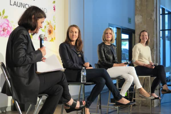 Moderator Laura Sydell, from NPR; Sara Clemens, COO at Pandora; Emily White, former COO at Snapchat; and Minnie Ingersoll, co-founder of Shift, speak on a panel for women in tech in San Francisco on Tuesday night.