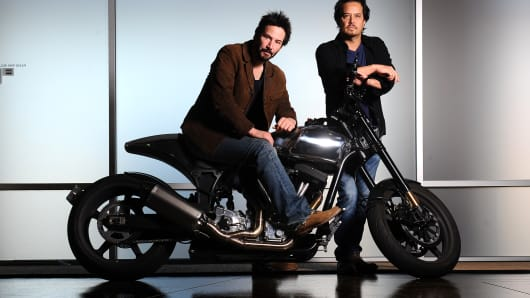 Actor Keanu Reeves, left, and Gard Hollinger have teamed to create Arch Motorcycles, makers of high-performance, and very expensive, motorcycles in Hawthorne.