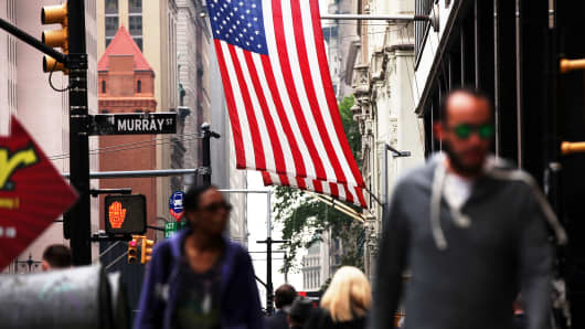 American flag in New York