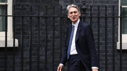 New Chancellor Philip Hammond arrives at Downing Street on July 13, 2016 in London, England.