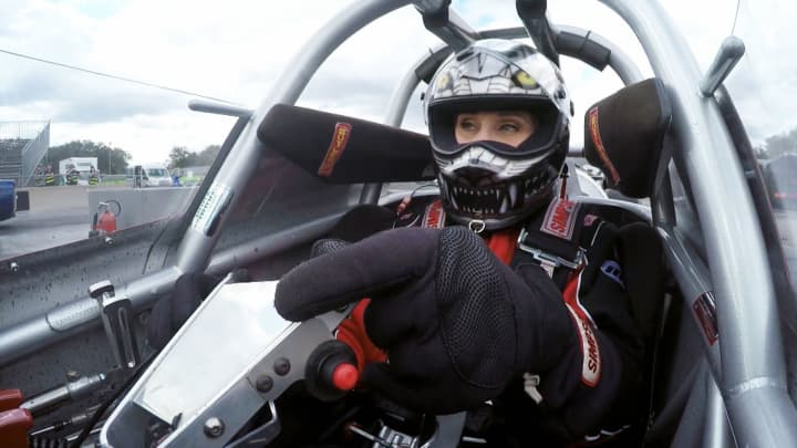 Jet race car driver Elaine Larsen drives the Florida Tech jet dragster. She leads a team of four all-female racers.