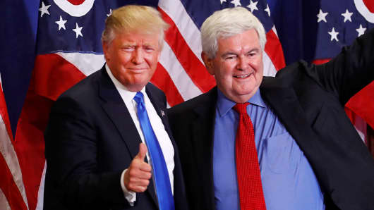Former Speaker of the House Newt Gingrich greets U.S. Republican presidential candidate Donald Trump at a rally at the Sharonville Convention Center in Cincinnati, Ohio July 6, 2016.