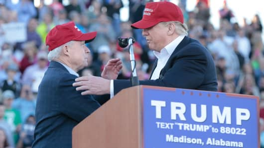 Sen. Jeff Sessions, R-Alabama, and Donald Trump at Madison City Stadium on February 28, 2016 in Madison, Alabama.