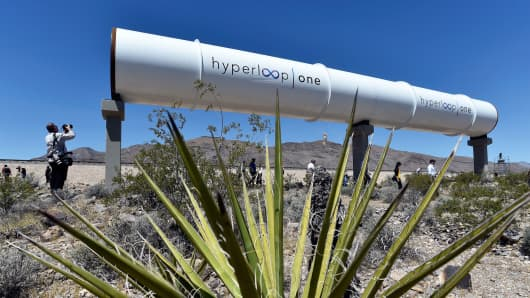 Hyperloop tubes are displayed during the first test of the propulsion system at the Hyperloop One Test and Safety site on May 11, 2016 in North Las Vegas, Nevada.