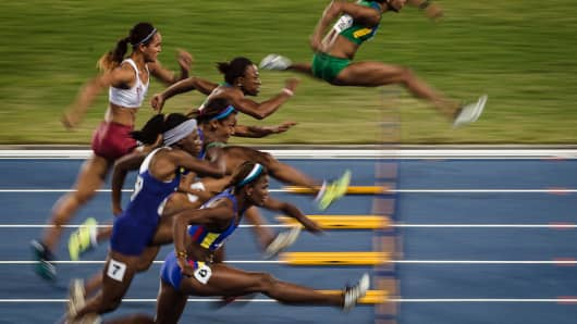 Athletes compete at the Ibero-American Championships in the women's 100-meter hurdles final, a test event for the 2016 Olympic Games at the Olympic Stadium in Rio de Janeiro, May 16, 2016.