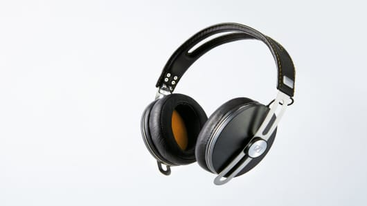A pair of Sennheiser Momentum 2 headphones, taken on April 17, 2015.