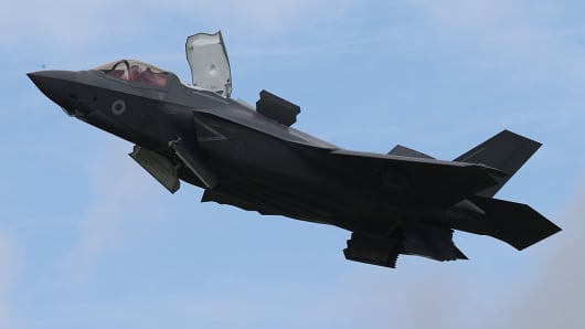 A Lockheed Martin F-35 Lightning II fighter during a demonstration flight at the 2016 Farnborough International Airshow.