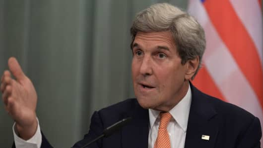 US Secretary of State John Kerry speaks during a press conference with Russia's Foreign Minister in Moscow on July 15, 2016. US Secretary of State John Kerry said on July 15 he was still catching up with fast-moving events in Turkey, where troops are on the street amid reports of a coup attempt. But he said that however events play out, he hoped that Turkey would be able to resolve the crisis while preserving peace, stability and a respect for 'continuity.'