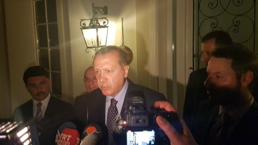 Turkish President Tayyip Erdogan speaks to media in the resort town of Marmaris, Turkey, July 15, 2016.