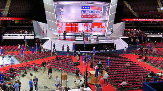Preparations for the GOP Convention were underway at the Qucken Loans Arena in Cleveland, Ohio on July 17, 2016.