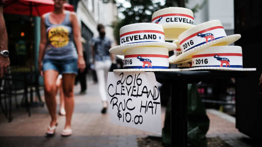 Cleveland convention hats are sold downtown on July 17, 2016 in Cleveland, Ohio.