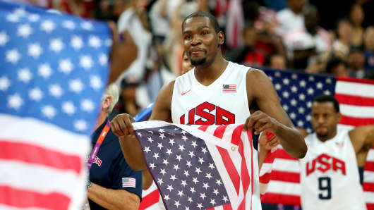 Kevin Durant #5 of the United States celebrates winning the Men's Basketball gold medal game between the U.S. and Spain on Day 16 of the London 2012 Olympics Games.