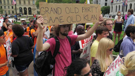 Protesters gather ahead of the GOP Convention in Cleveland on July 18th, 2016.