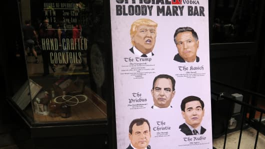 A candidate inspired Bloody Mary menu sits outside a bar in Cleveland as the GOP Convention get underway on July 18th, 2016.