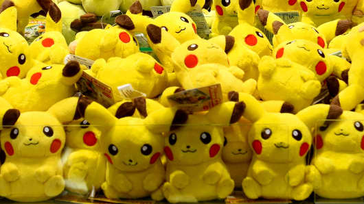 Stuffed toys of Pikachu from the Pokemon character are seen at the amusement park in Tokyo, Japan on July 16, 2016. Pokemon GO has unleashed a bevy of virtual beasts across the world.