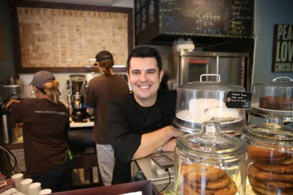 Sweet Corner Bakeshop owner Rodolfo Goncalves poses at his New York City bakery on Friday, June 3, 2016