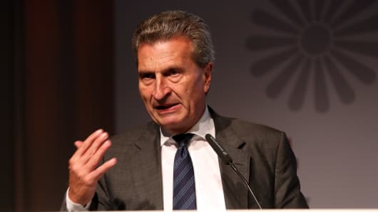 uenther Oettinger speaks during the VPRT summer reception on September 8, 2015 in Berlin, Germany.