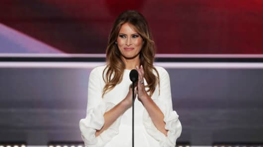 Melania Trump, the wife of presumptive Republican presidential nominee Donald Trump, delivers a speech on the first day of the Republican National Convention in Cleveland, Ohio.
