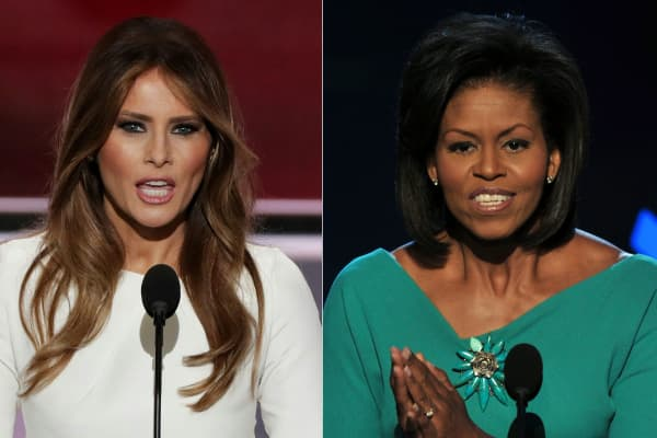 Melania Trump (L), wife of presumptive Republican presidential candidate Donald Trump, addressing delegates on the first day of the Republican National Convention on July 18, 2016 at Quicken Loans Arena in Cleveland, Ohio, on July 18, 2016 and Michelle Obama, wife of US Democratic presidential candidate Barack Obama, greeting the audience at the Democratic National Convention 2008 at the Pepsi Center in Denver on August 25, 2008.