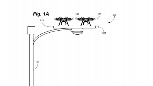 Patent filing depicts an Amazon drone docked on a lamppost.