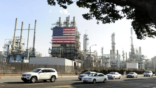 An exterior view of the Tesoro petroleum refinery February 19, 2015 in Carson, California.