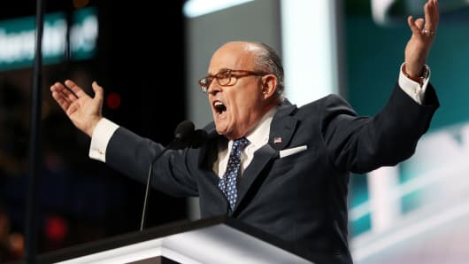Former New York City Mayor Rudy Giuliani delivers a speech on the first day of the Republican National Convention on July 18, 2016 at the Quicken Loans Arena in Cleveland.