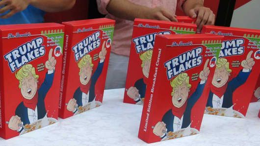 Trump Flake cereal for sale outside the GOP Convention in Cleveland on July 18, 2016.