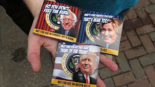 Condoms for sale outside the GOP Convention in Cleveland on July 18, 2016.