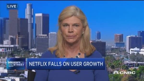 Netflix falls on user growth