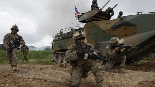 U.S. Marines from 3rd Marine Expeditionary force deployed from Okinawa, Japan, participate in the joint combat training with South Korean soldiers on July 6, 2016 in Pohang, South Korea.