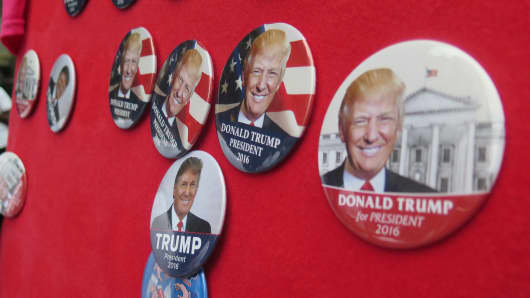 Donald Trump pins sold by vendor in Cleveland, Ohio during the Republican National Convention.